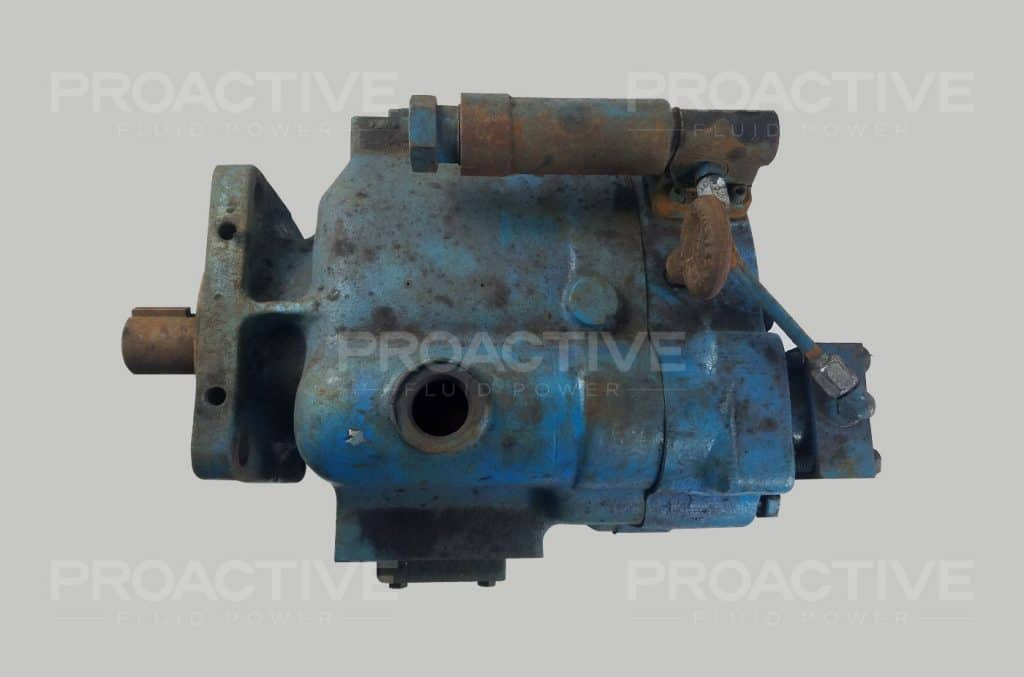 Vickers PVB90 hydraulic piston pump to be inspected for repair service.