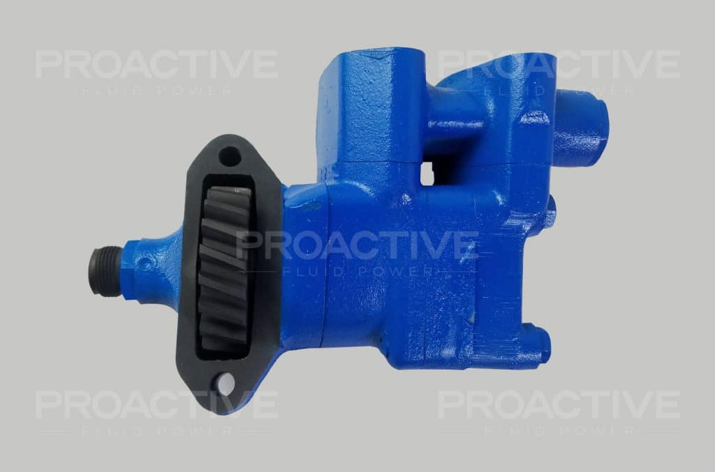 Ford power steering pump painted blue before repair is shipped.